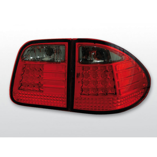 LAMPY MERCEDES W210 LED RED SMOKE KOMBI