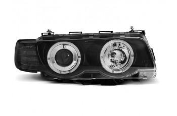 REFLEKTORY BMW E38 98-01 RINGI BLACK H7/H1 + SILNICZKI